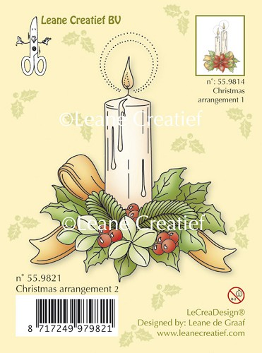 Clear stamp Christmas arrangement 2. with single candle