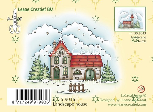 Clear stamp winter landscape house