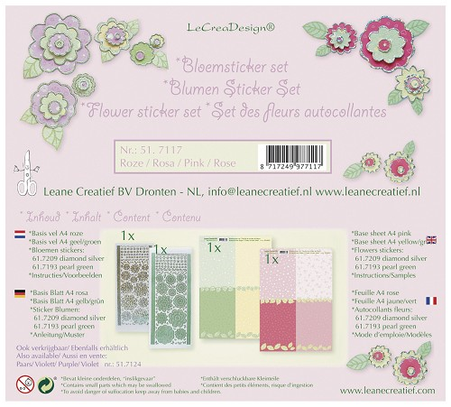 Bloem sticker set roze