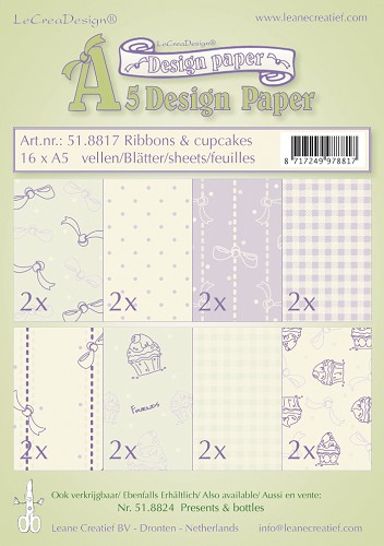 Design papier assortiment ribbons & cupcakes 16xA5