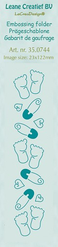 Border embossing folder Baby feet  23x122mm