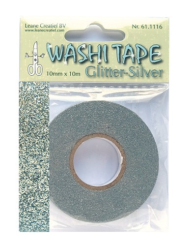 Washi tape glitter silver 10 mm x 10 m