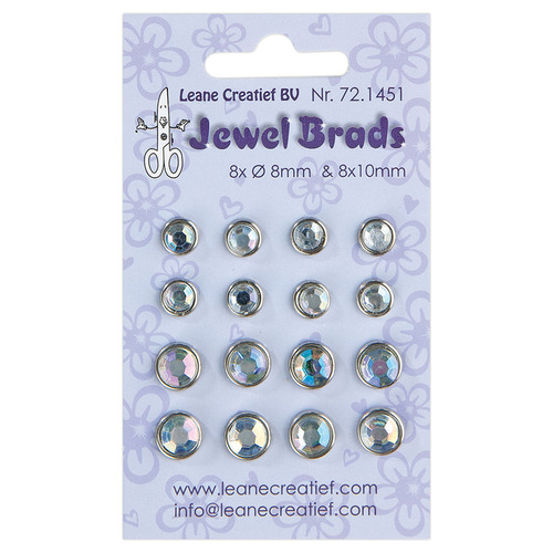 Jewel brads chrystal 8x 6mm. & 8x 8mm.