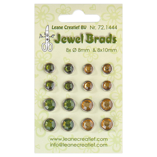 Jewel brads moss green / light gold 8x 6mm. & 8x 8mm.