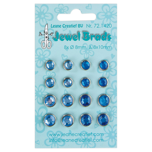 Jewel brads dark blue/ light blue 8x 6mm. & 8x 8mm.