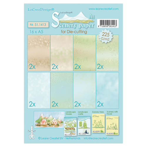 Scenery papers for die-cutting  blue-green-brown 16xA5, 225 gr.