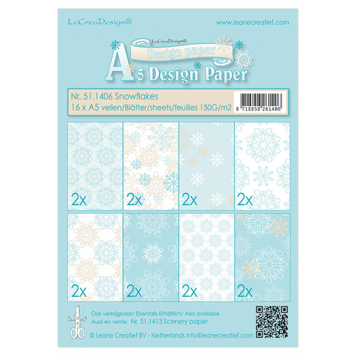 Winter design papier assortiment  Snowflakes blue 16xA5, 150 gr.