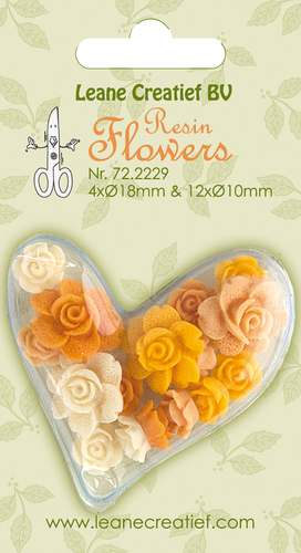 Resin flowers Roses yellow 4x 18mm+12x 10mm.