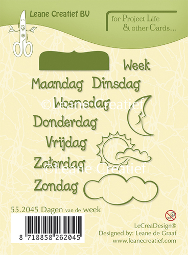 Project Life & Cards clear stamp Dagen van de Week Nederlands