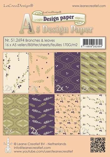 Design papier assortiment  Branches & Leaves  purple /green /ochre 16 sheets A5  170 gr.