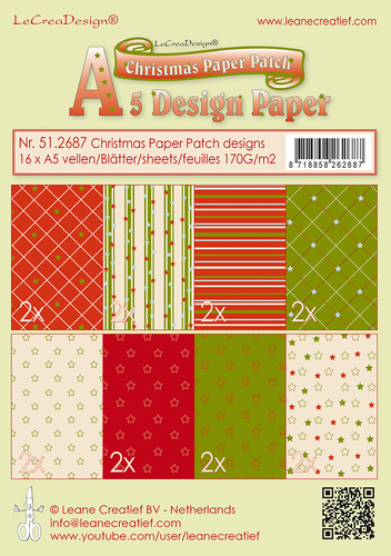 Christmas Paper Patch designs  green/red  16 sheets A5  170 gr.