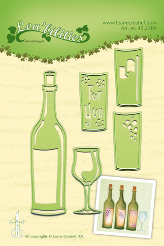 Lea'bilitie® Wine bottle & glass snij en embossing mal