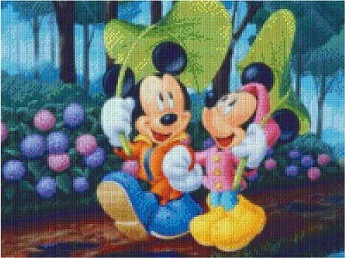 mickey en mini onder blad
