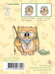Clearstamp Owlie´s Owl004 Popco as fisherman
